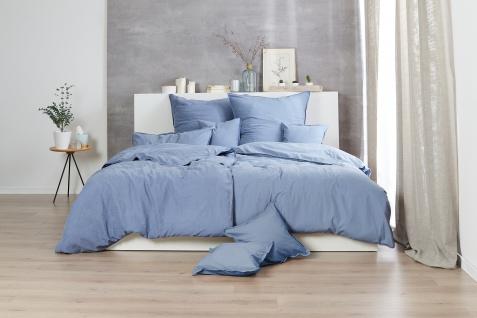 Bettwäsche 135x200+80x80 cm, Design: Stone Washed, Farbe: Denim, 100% natürliche Baumwolle