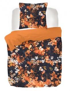 Bettwäsche Senji Orange 155x220 GOTS Bio-Baumwoll-Satin Garnitur von Kayori mit Reißverschluss