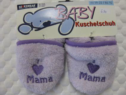 Baby Kuschelschuhe mit rutschhemmender Sohle in lila, hellblau oder cremefarben