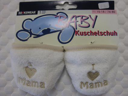 Baby Kuschelschuhe mit rutschhemmender Sohle in lila, hellblau oder cremefarben - Vorschau 2