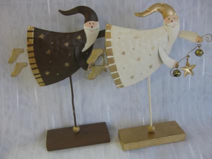 Weihnachtsmann aus Metall mit Holzfuß, Deko 20 cm hoch