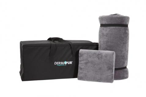Reiseset von Dermapur Matratzenauflage+Schlafkissen Bezug anthrazit 80% Baumwolle 20% Polyester