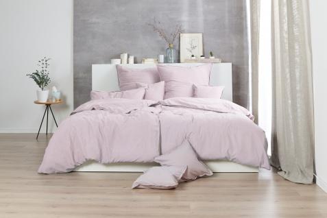 Bettwäsche 135x200+80x80 cm, Design: Stone Washed, Farbe: Blassrosé, 100% natürliche Baumwolle von Hahn Haustextilien