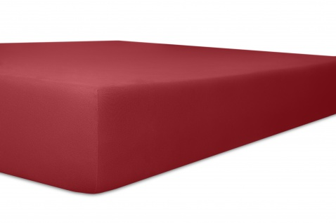 Spannbetttuch Organic-Cotton, karmin 180x200x30 bis 200x220x30 cm GOTS zertifiziert von Kneer