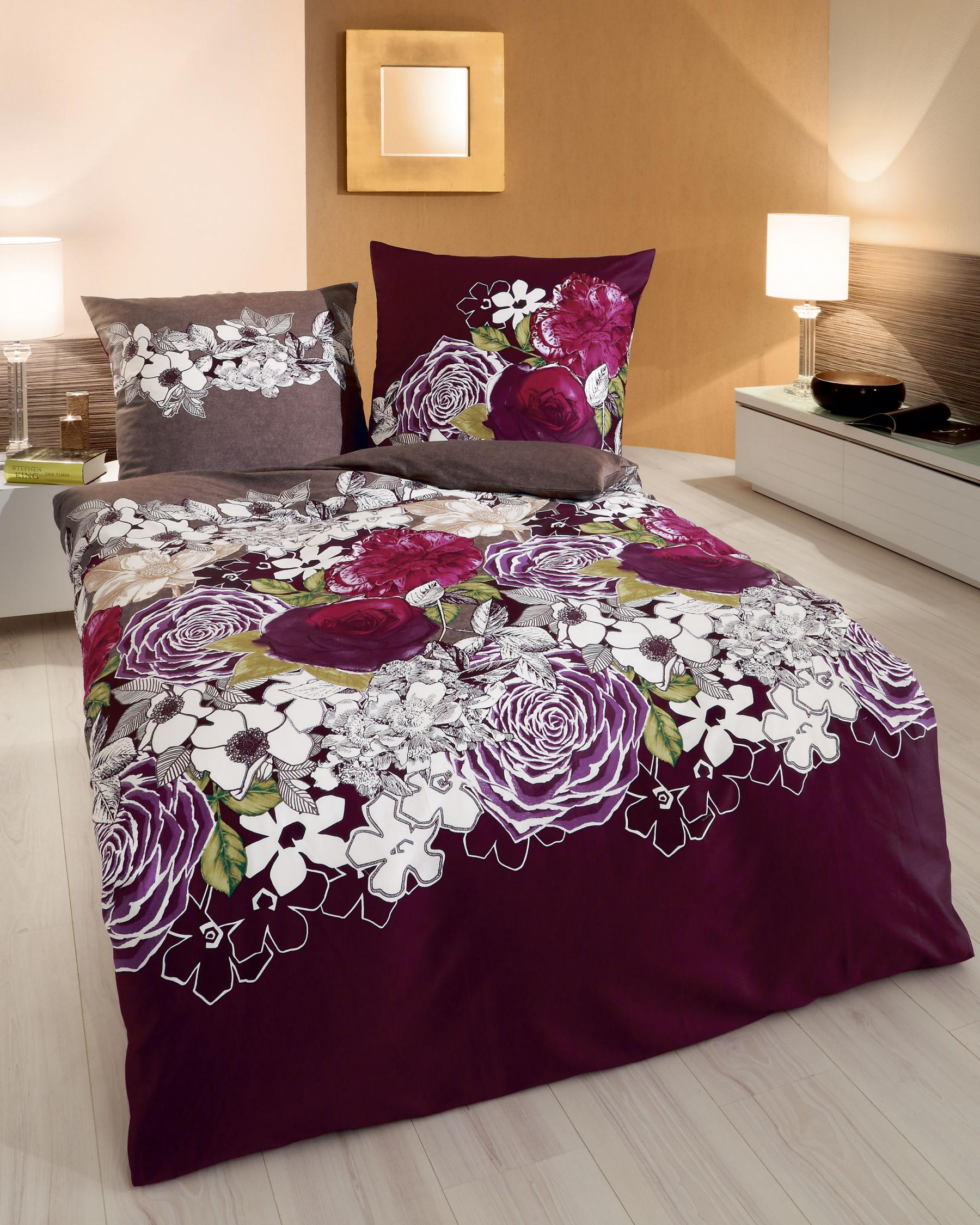bettw sche 155x220 cm mako satin blumenmotiv 419 von. Black Bedroom Furniture Sets. Home Design Ideas