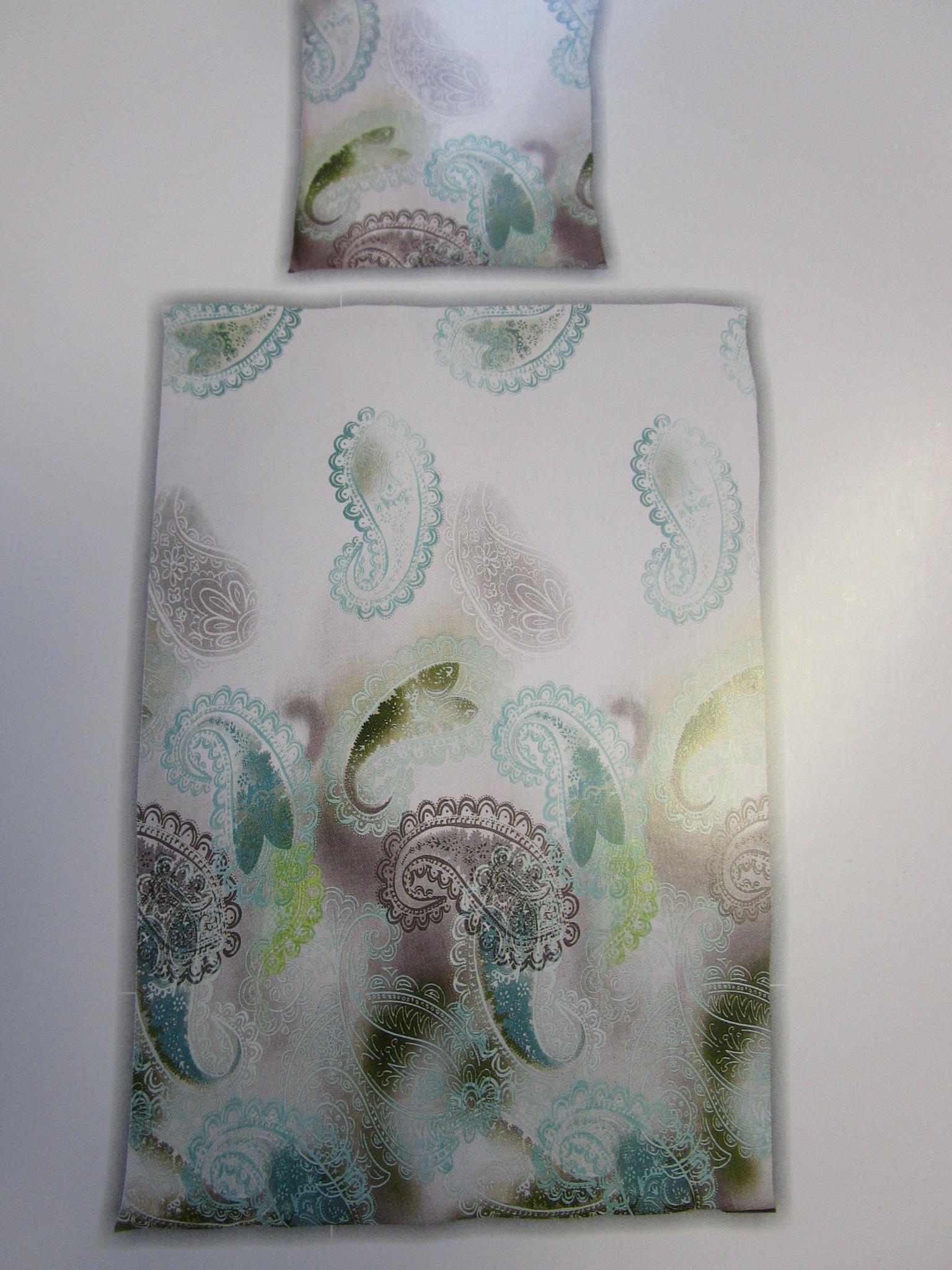 bettwsche 155x220 cm mako satin 100 baumwolle garnitur living dreams paisley smaragd titan - Bettwasche Paisley Muster
