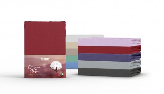 Spannbetttuch Organic-Cotton, flieder 90x190x30 bis 100x220x30 cm GOTS zertifiziert von Kneer