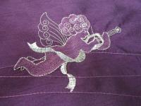 Tischdecke Mitteldecke 85x85 cm Weihnachtsmotiv Engel lila-silber