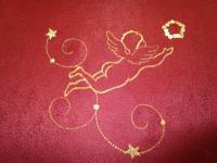 Tischdecke Mitteldecke 80x80 cm Weihnachtsmotiv Engel Rot-Gold