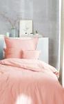 Bettwäsche 155x220+80x80 cm, Design: Stone Washed, Farbe: Koralle, 100% natürliche Baumwolle von Hahn Haustextilien