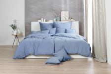Bettwäsche 135x200+80x80 cm, Design: Stone Washed, Farbe: Denim, 100% natürliche Baumwolle von Hahn Haustextilien