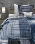 Wendebettwäsche Gavriel in Blau 135x200 + 80x80 cm von Heckett & Lane 100% Baumwolle