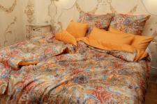 Bettwäsche 135x200 Kochi bunt/mandarin Mako-Satin Garnitur von Momm mit Reißverschluss