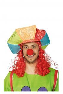 Clownhut mit Haaren Clownmütze Mütze Clown SONDERPREIS Hut Clown Clownperücke Perücke ClownKostüm Clown Clownkostüm