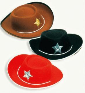 Cowboyhut Größe 55 rot, schwarz oder braun - Vorschau 1