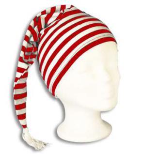 Zipfelmütze Schlafmütze rot/weiß - Vorschau