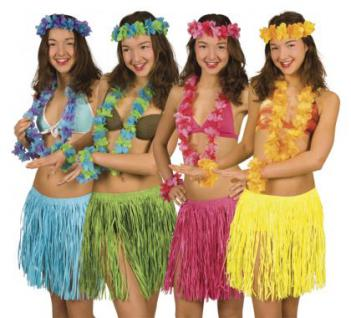 Hawaiiset Hawaii - Set Bastrock Hawaiikette SONDERPREIS Hawaiirock Kostüm Hawaii