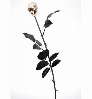 Schwarze Rose Totenkopf Skull Schädel , Kunststoff - Vorschau