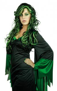 Perücke Hexe Perücke grün schwarz Hexe Nixe Elfe Zauberin Hexenperücke Halloween