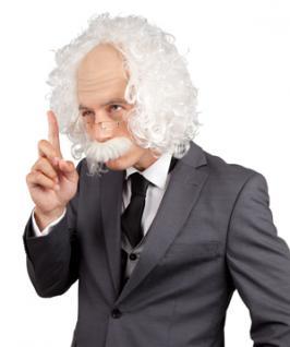 Perücke Professor Einstein Kostüm mit Brille + Bart Einsteinperücke