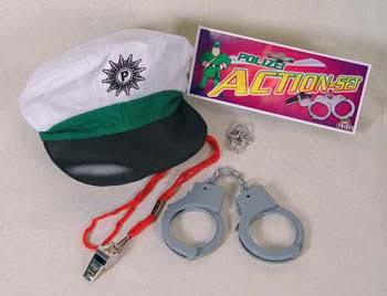 Polizei - Set 1 Kostüm Polizeikostüm Kostüm Polizist Handschellen Polizeimütze