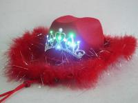 Hut Lady - Cowboy rot mit Blinkdiadem Cowboyhut