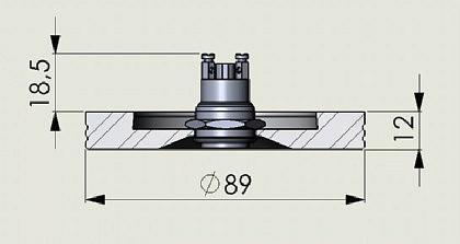 Edelstahl Klingelplatte - Rund 89mm - 12mm stark - Vorschau 2