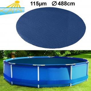 115µm Pool Solarplane Poolheizung Solarfolie Abdeckung Rund Blau Schwarz 488cm