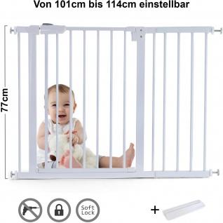 Absperrgitter Treppenschutzgitter Metall weiß + Rampe 77cm hoch 101-114cm