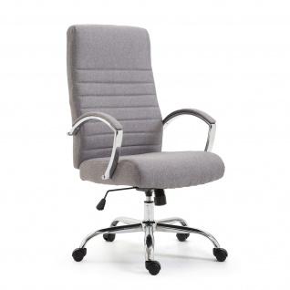 Chefsessel Bürostuhl Drehstuhl mit Armlehnen Schreibtischstuhl Stoff Hell Grau