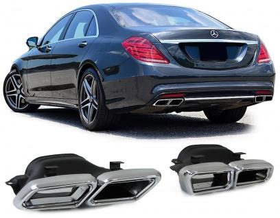 Endrohre für Heck Stoßstange Sport Optik für Mercedes S Klasse W222 ab 13