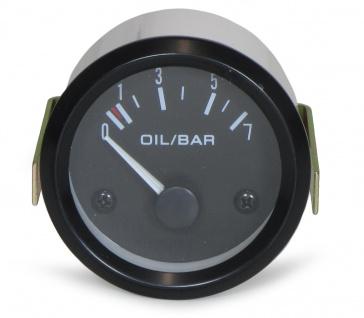 52mm Zusatz Instrument Youngtimer Öldruck schwarz
