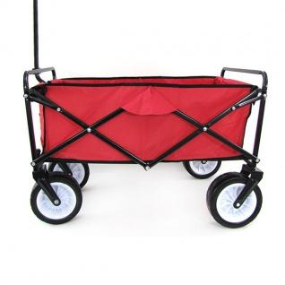 Garten Transport Faltwagen Handwagen Bollerwagen klappbar bis 80kg rot - Vorschau 5