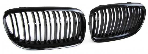 Kühlergrill Nieren Doppelsteg schwarz glänzend für BMW 3er E90 E91 LCI 08-12
