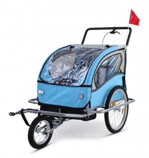 Kinder Fahrradanhänger Anhänger Kinderanhänger Jogger 2in1 Hellblau Weiß