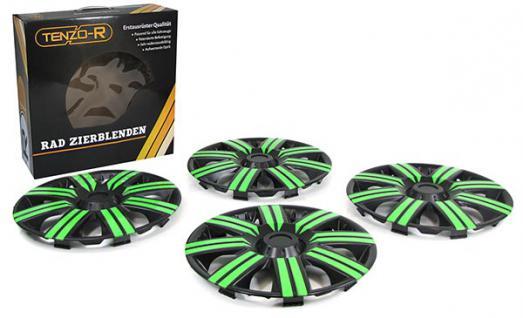 Radkappen Radzierblenden für Stahlfelgen Set Tenzo-R II 14 Zoll schwarz grün - Vorschau 2