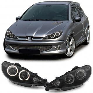 *** Angel Eyes Scheinwerfer H7 H7 mit Motor schwarz für Peugeot 206 98-02