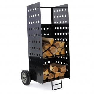 Brennholz Kaminholzwagen Beistellwagen für Kamin Holzscheite XL schwarz