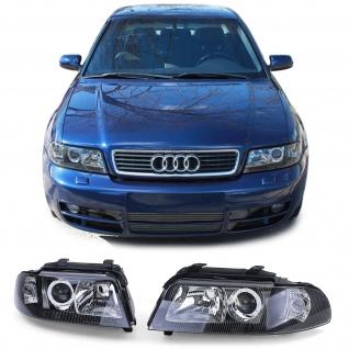 Facelift Klarglas DE Scheinwerfer Schwarz Smoke für Audi A4 B5 Limousine Avant
