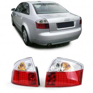 LED Klarglas Rückleuchten Rot Klar für Audi A4 8E Limousine 00-04