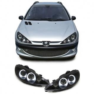 Klarglas CCFL Angel Eyes Scheinwerfer H7 H1 schwarz für Peugeot 206 + CC ab 98
