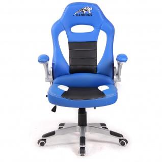RAMROXX Gamingstuhl Bürostuhl Schreibtischstuhl Sportsitz Schwarz Blau