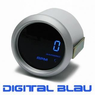 Drehzahlmesser Anzeige Zusatz Instrument 52mm digital Magic blau