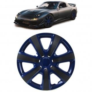 Radkappen Radzierblenden Tenzo-R IX für Stahlfelgen 15 Zoll blau Carbon