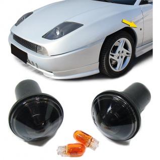 Schwarze Klarglas Seitenblinker Blackchrom für FIAT Coupe 94-00