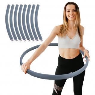 Hula Hoop Fitness Reifen Edelstahl 8 Teile gepolstert befüllbar Grau