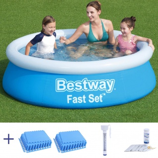 BESTWAY Fast Set Kinder Pool 183x51cm + Schutzmatte + Thermometer + Wassertester