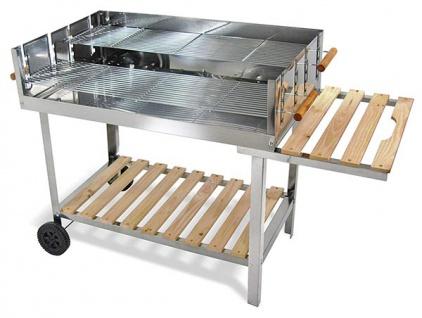 Edelstahl Barbecue Holzkohle Grill Grillwagen BBQ 136x60x93 XXL - Vorschau 2