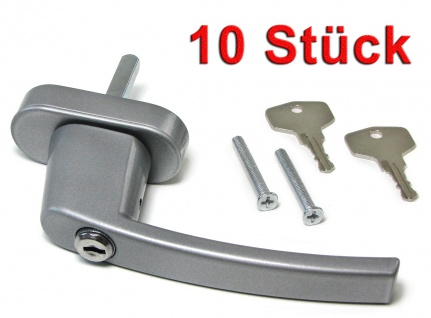 Sicherheits Fenstergriff Griffe abschließbar aus Metall silber 10 Stück