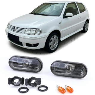 Klarglas Seitenblinker Black Chrome Schwarz Smoke für VW Lupo Fox Polo 6N 6N2